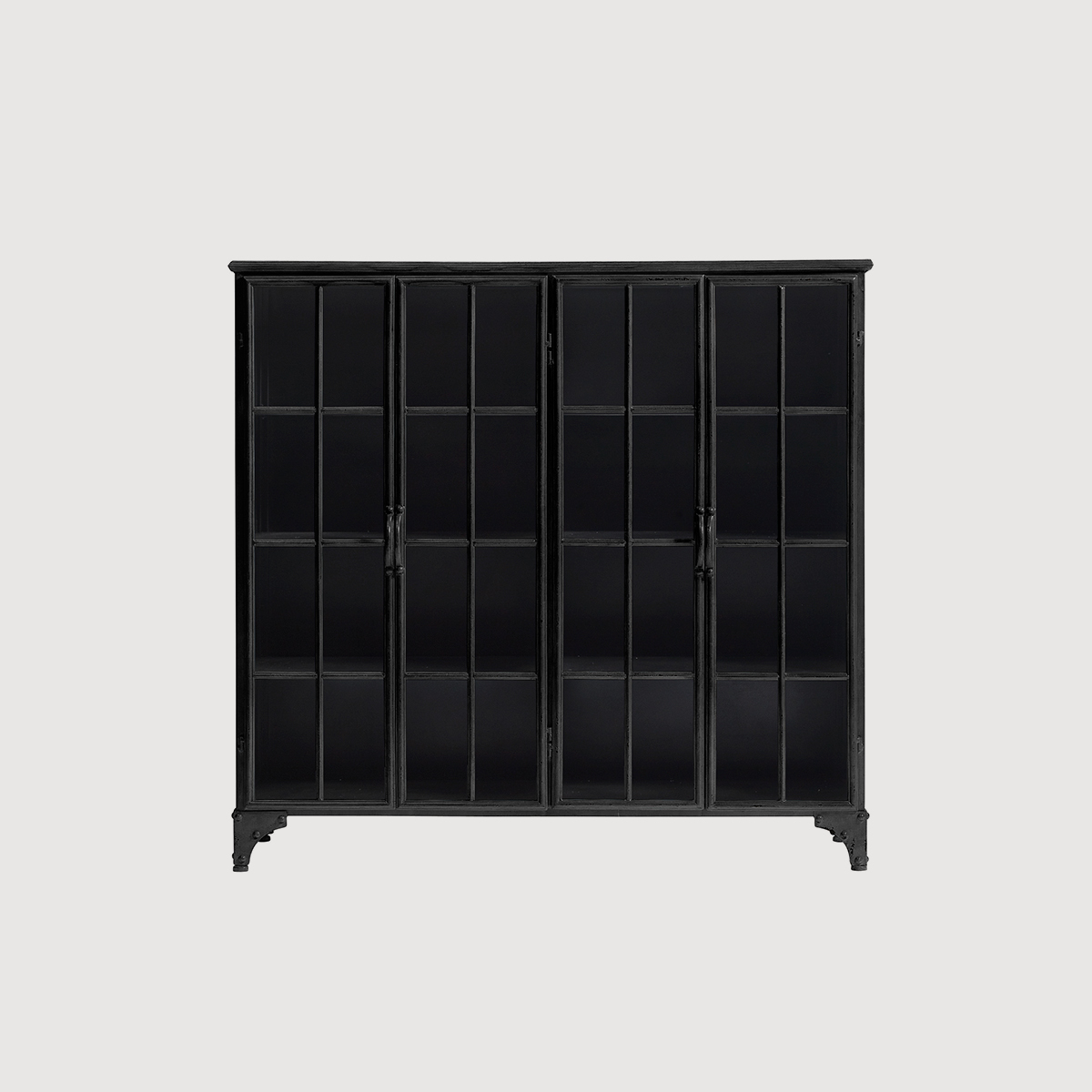 Black Glass Cabinet Iron Nordal