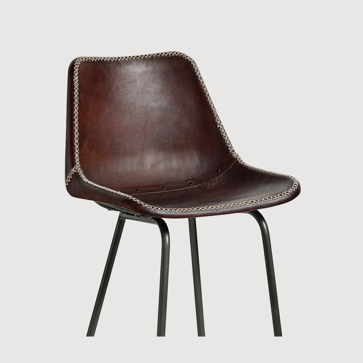 Mersey Leather Chair with Iron Legs – Chocolate Brown gallery image