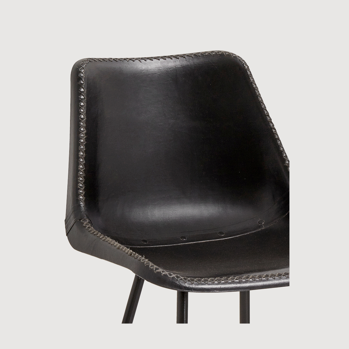 Mersey Leather Chair with Iron Legs – Black gallery image