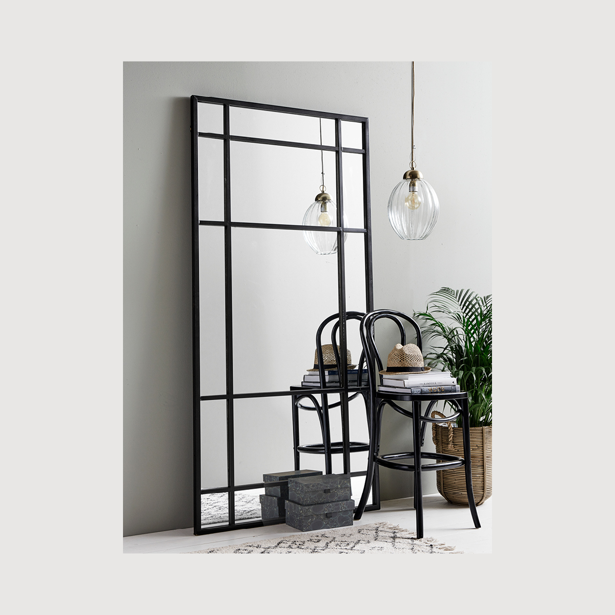 Nordal, Crittall Mirror, black frame mirror, window mirror