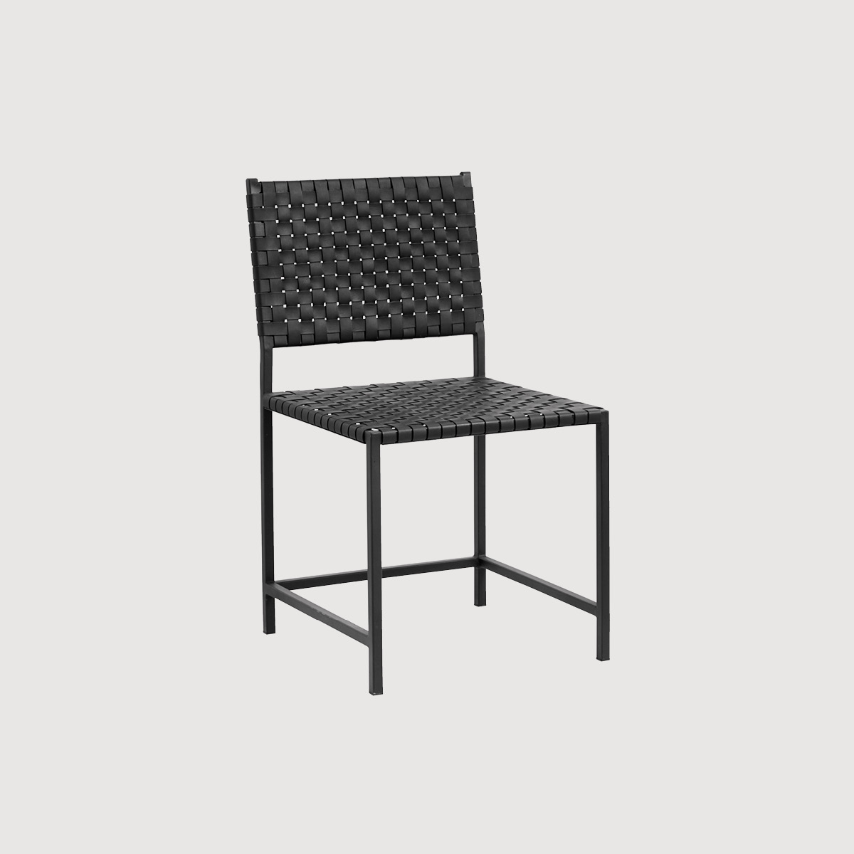 Noir Metal & Leather Dining Chair