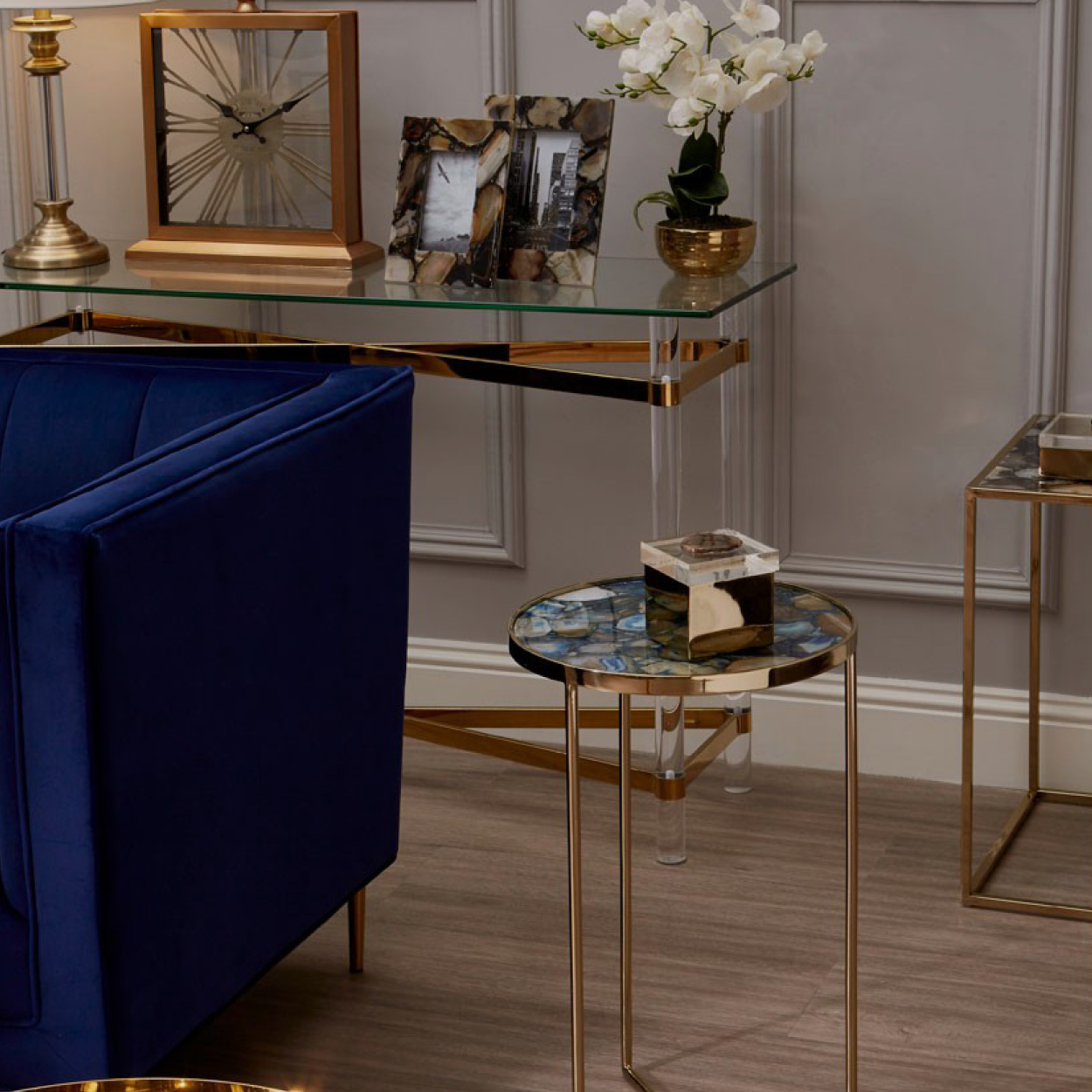 Clarence Glass and Gold Console Table gallery image