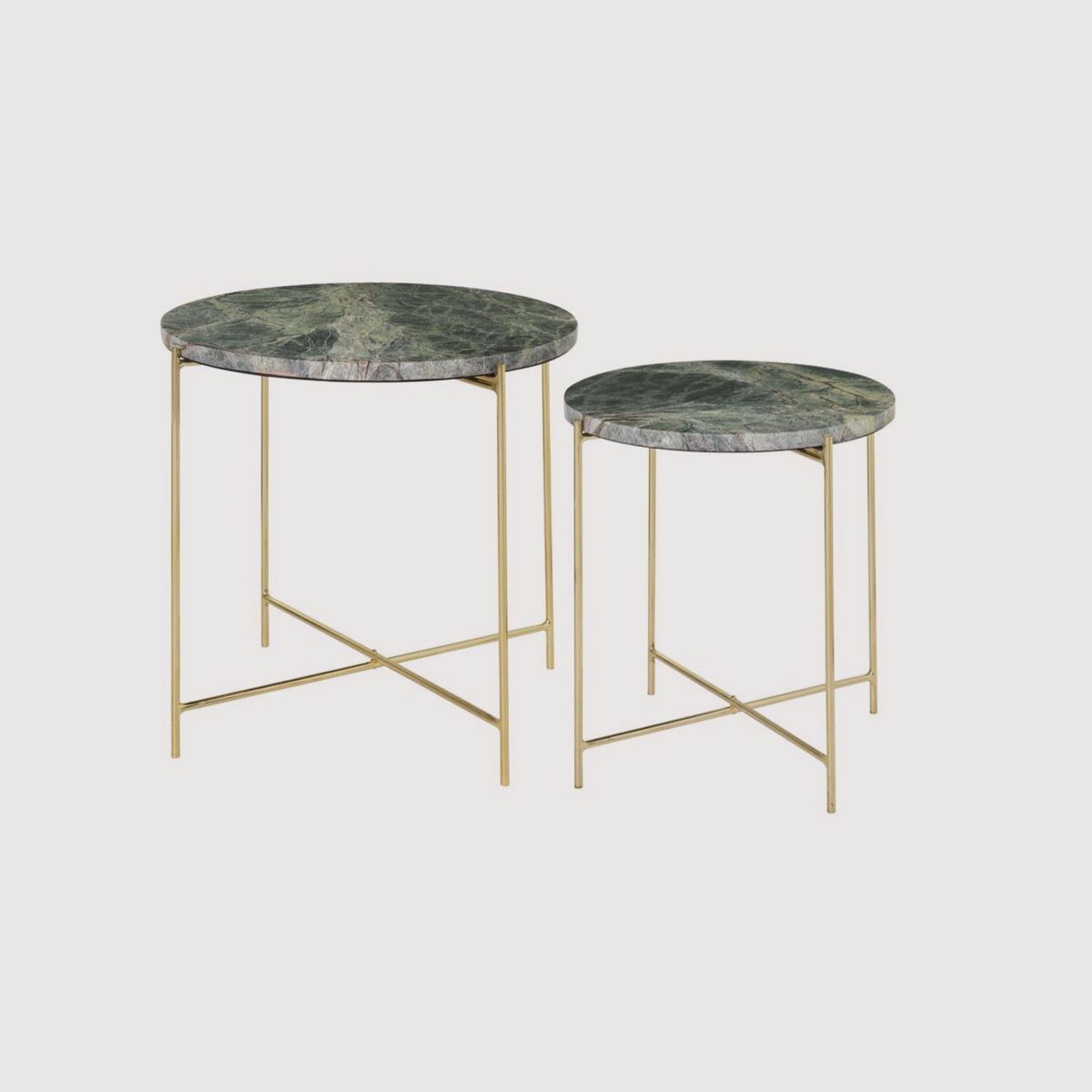 Green Marble Brass Side Tables