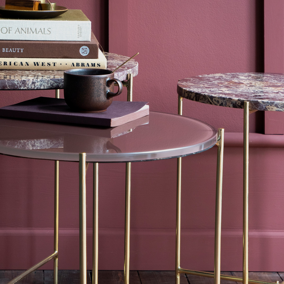 Freja Marble Tables – Cherry Red gallery image