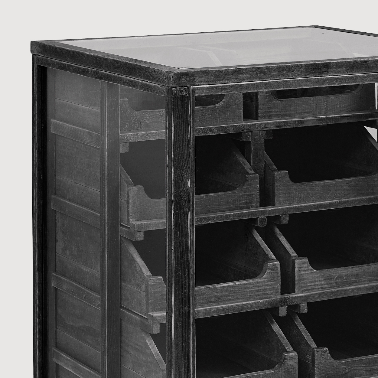 Pharmacy Black Dresser with Drawers gallery image
