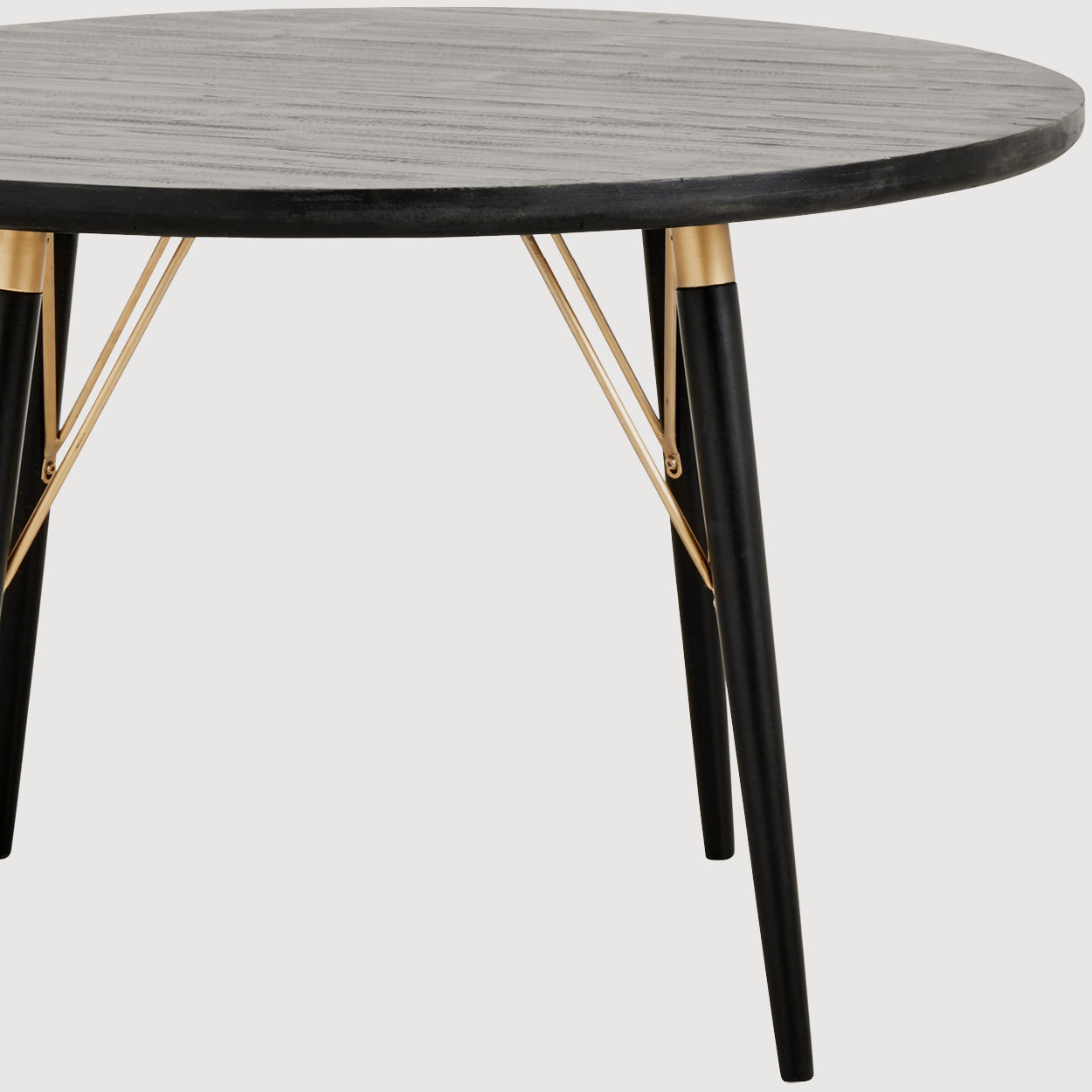 Fern Black and Gold Round Dining Table gallery image