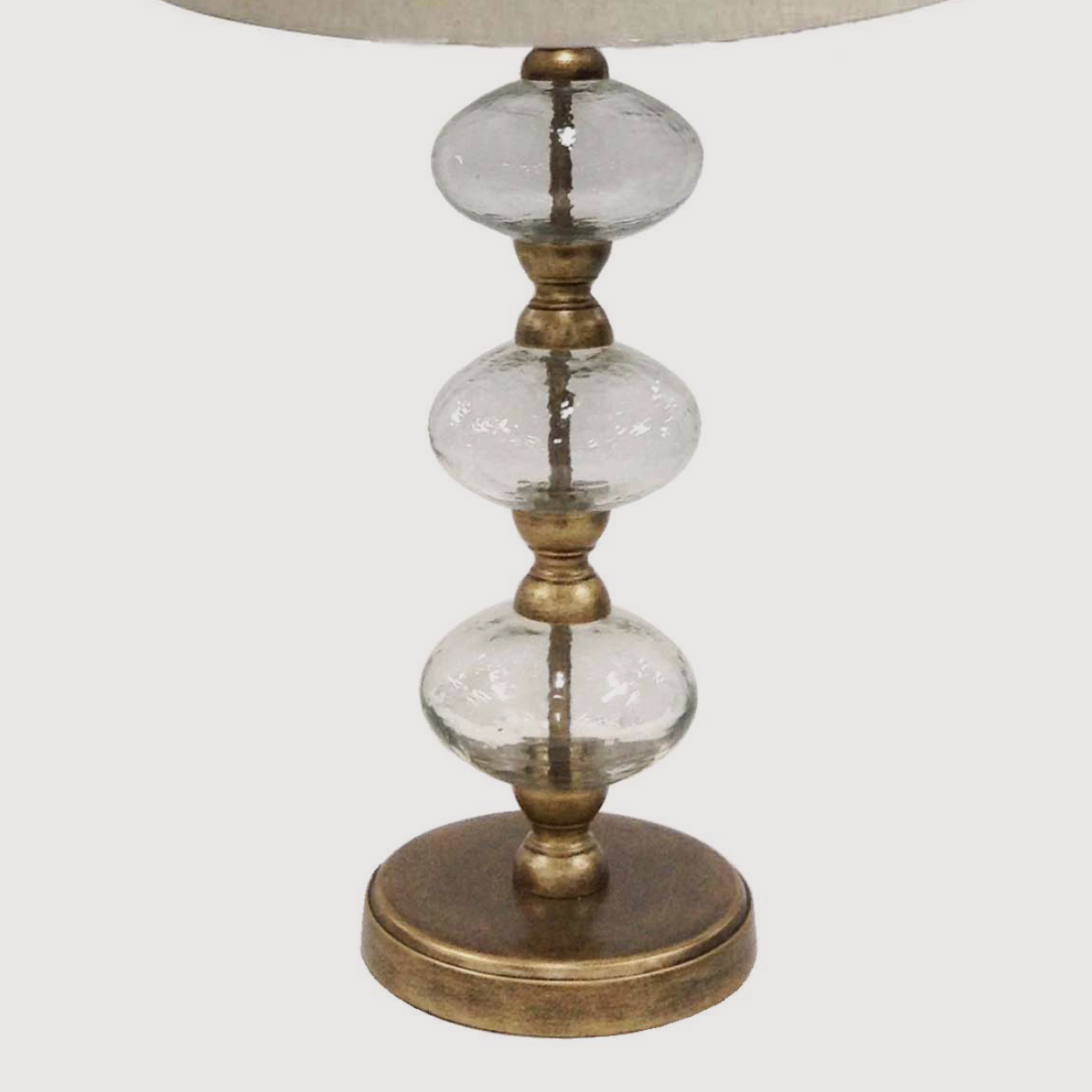 Romana Antique Gold Bubble Lamp with Natural Linen Shade gallery image