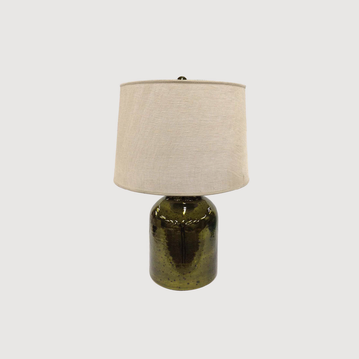 Olive Green Bottle Table Lamp with Natural Linen Shade gallery image