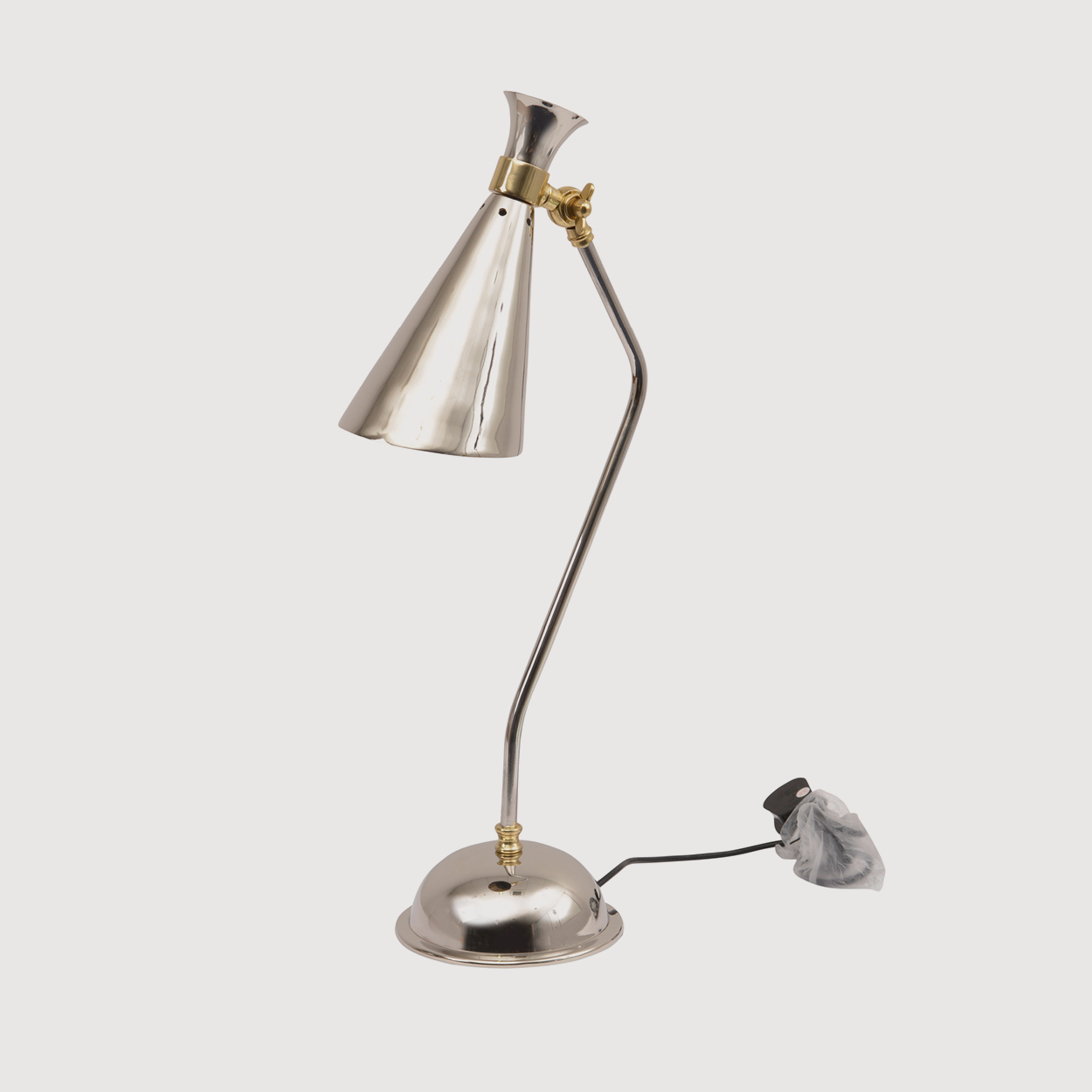 Enza Nickel and Brass Conical Desk Lamp gallery image