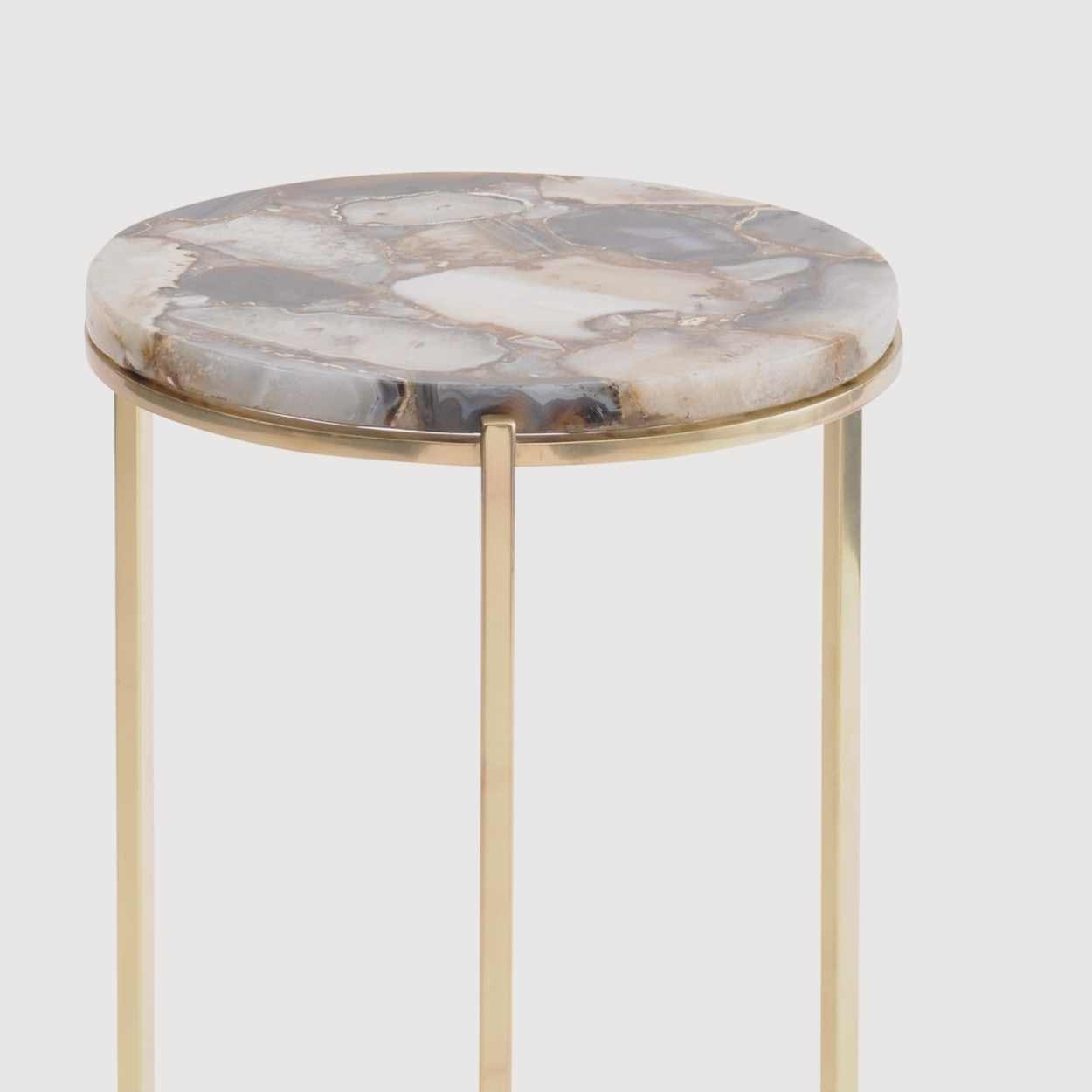 Agate Round Side Table – Brass Frame gallery image