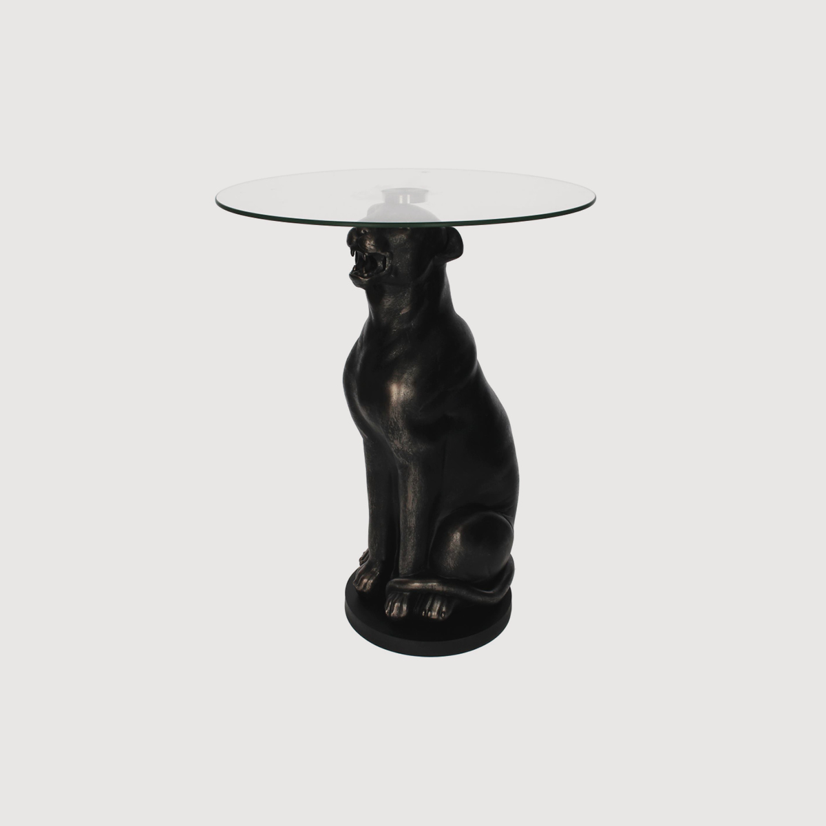 Black leopard side table