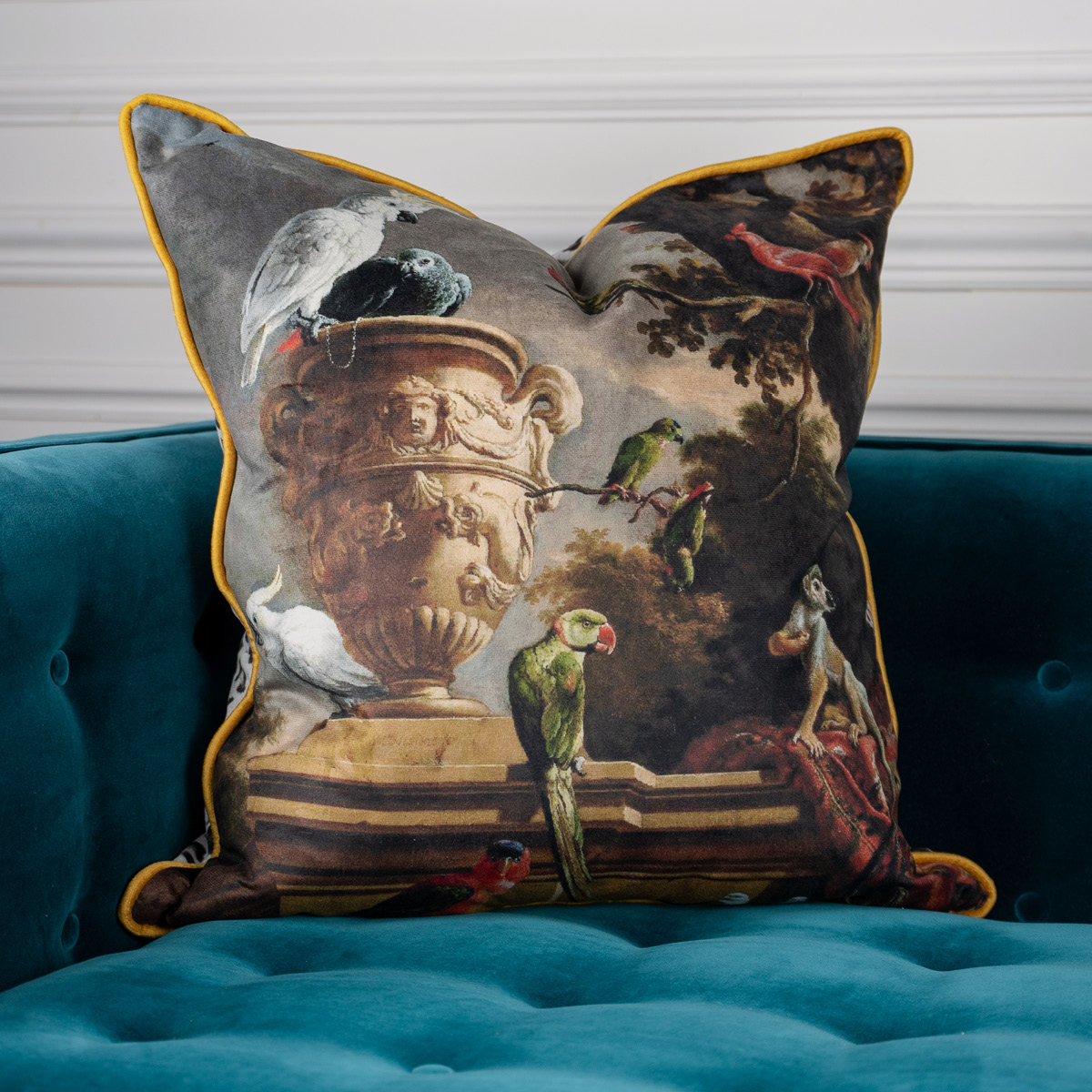 Parrot Monkey Velvet Cushion