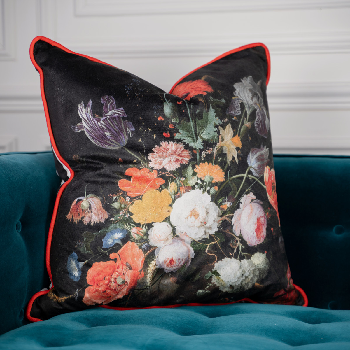 Poppies Velvet Cushion
