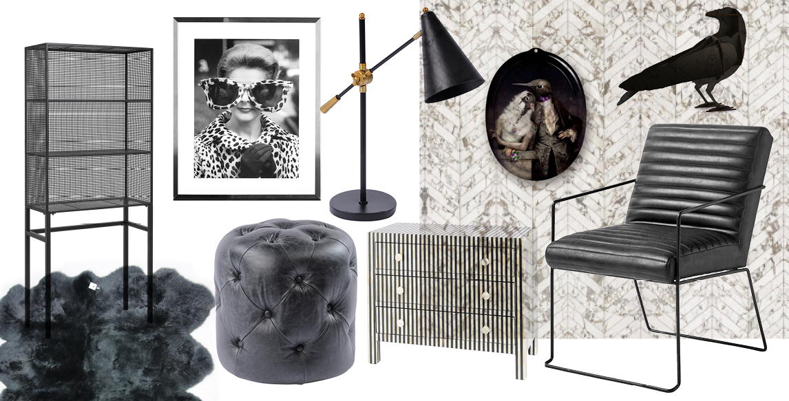 monochrome wallpaper, home accessories, unusual furniture, black lamp